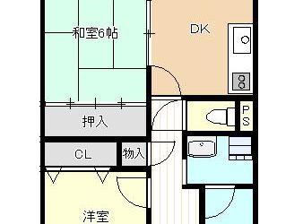 恵我之荘2丁目マンション(2階・2DK)間取り