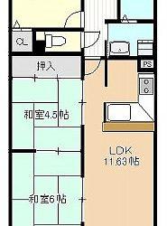 高鷲1丁目マンション(1階ー3LDK)間取り