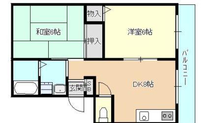 伊賀6丁目ハイツ(2DK)間取り