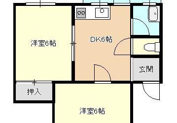 南恵我之荘7丁目マンション(4階・2DK)間取り