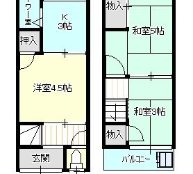 柴垣1丁目貸テラスハウス(東側)間取り