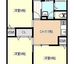 藤ヶ丘3丁目アパート(3DK)間取り