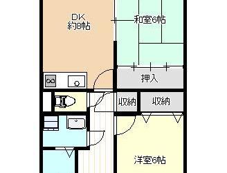 藤井寺1丁目マンション(2DK)間取り