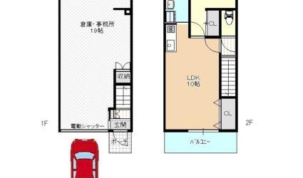 高鷲4丁目新築アパート(倉庫・事務所つき)間取り
