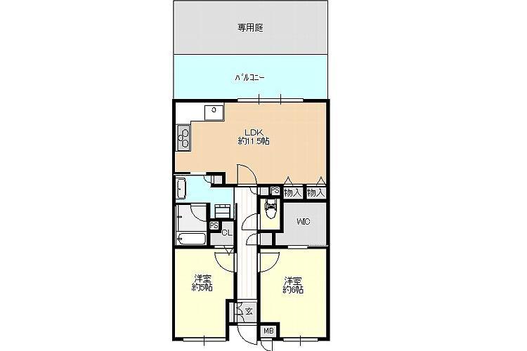 松ヶ丘1丁目中古マンション(1階・2LDK)画像2